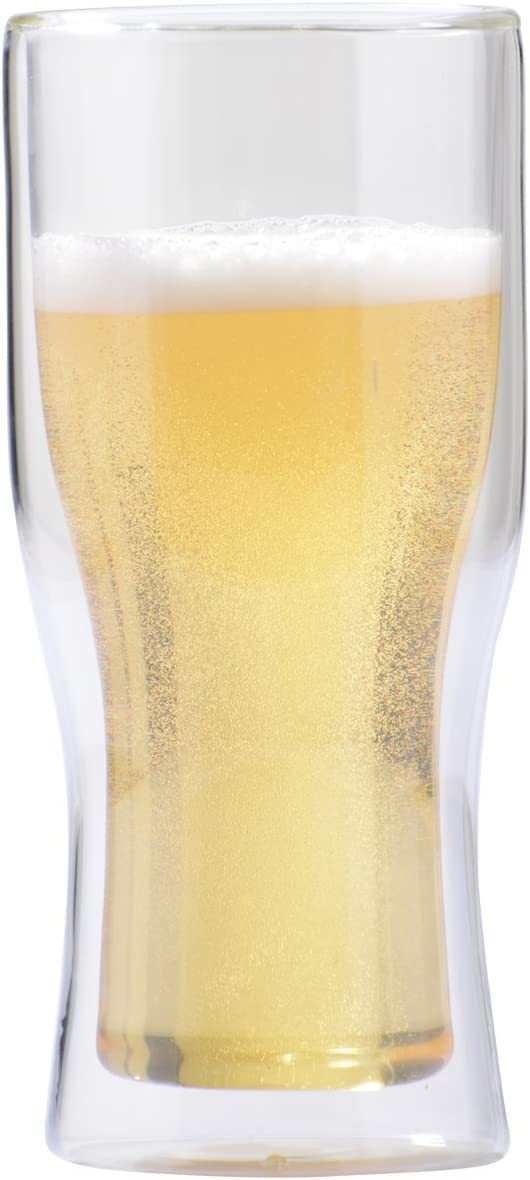 Vosi Double Wall Glass Beer Mug, Set of 2 (12 oz (Tumbler))