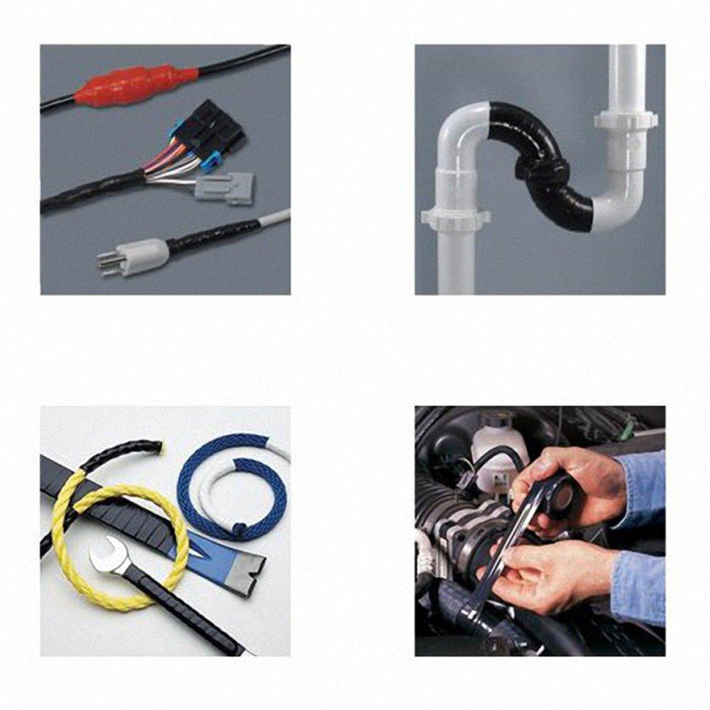 Rubber Silicone Repair Waterproof Bonding Tape Rescue Self Fusing Wire Black maxgoods
