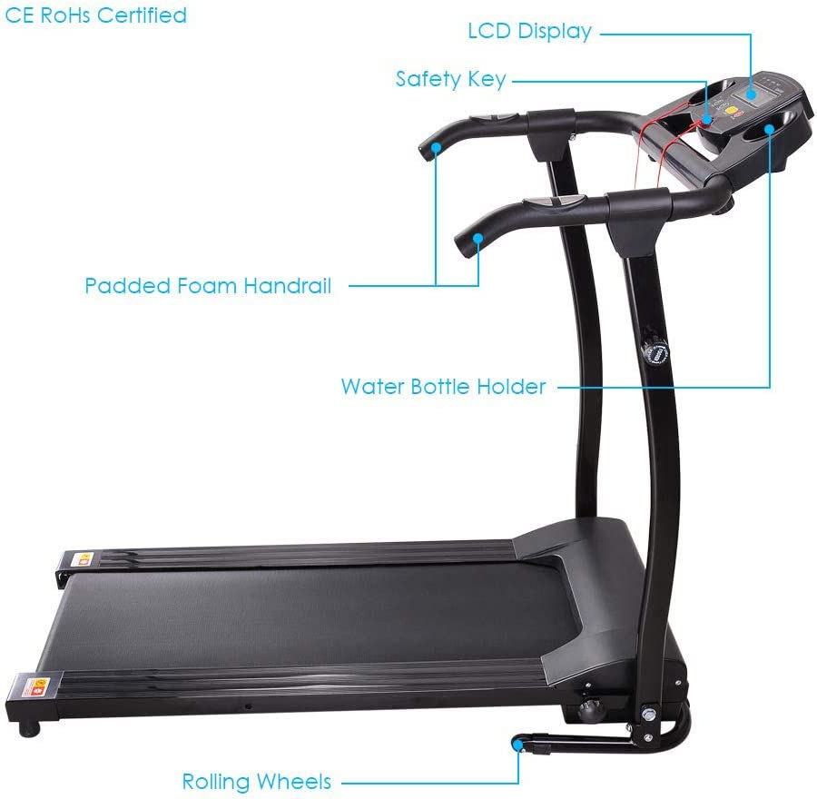 LYZQQ Caminadora el/éctrica cubierta plegable de m/últiples funciones del color de la pantalla Fitness Equipment rueda de ardilla casera inteligente equipo de la aptitud de peso equipo de p/érdida de cin