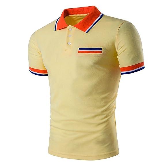 529a0eb94a ZODOF Casual Polo de Mangas Largas para Hombre Algodón Cuello Clásico Slim  Fit Camiseta Camisas Deporte