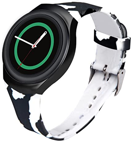 for Samsung Gear S2 Watch Band - Soft Silicone Sport Replacement Band for Samsung Gear S2 Smart Watch SM-R720 SM-R730 Version Black Camouflage