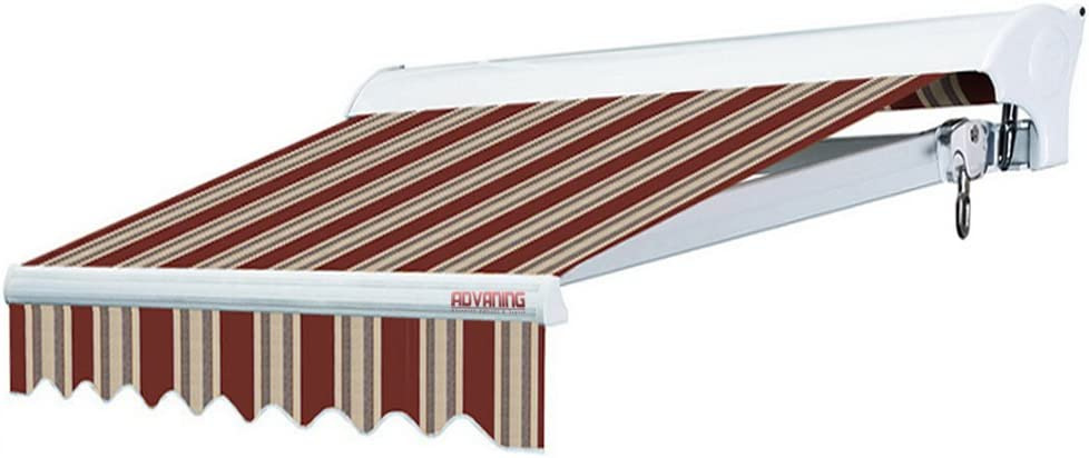 Amazon Com Advaning Ma1008 A430h2 Luxury Series Premium Quality Manual Retractable Patio Awning 100 Solution Dyed European Acrylic Easy Uv Sunshade Manual Hand Crank 10 X8 Brick Red Sand Beige Stripes Garden