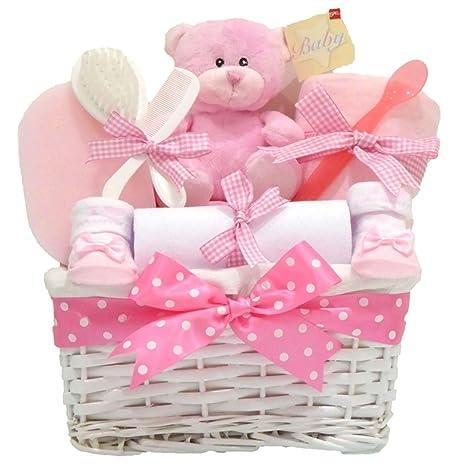 Cesta blanca de mimbre de regalo para bebé niña, regalo por el ...