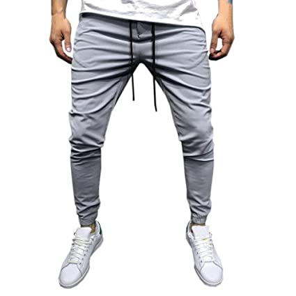0da7c16545f2c4 Image Unavailable. Image not available for. Color  Men Casual Pants Men s  Long Baggy Comfort Elastic Waist Drawstring Pockets Sportwear Slacks  Sweatpants ...