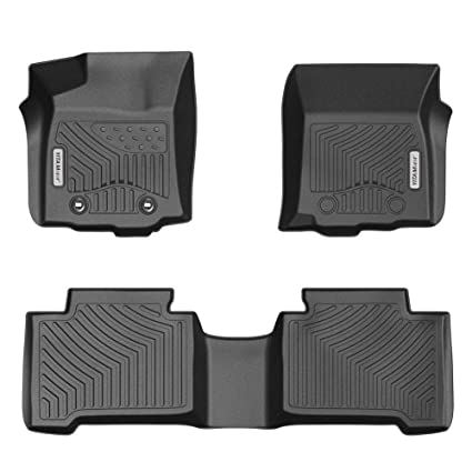 Yitamotor Floor Mats For Tacoma Custom Fit Floor Liners For 2016 2017 Toyota Tacoma Double Cab 1st And 2nd Row Heavy Duty Rubber