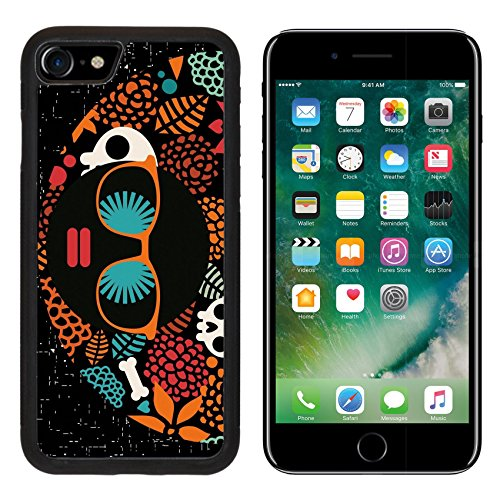 MSD Premium Apple iPhone 7 Aluminum Backplate Bumper Snap Case iPhone7 Black head woman with strange pattern on her hair Vector illustration IMAGE (Cute And Easy Hairstyles For Halloween)