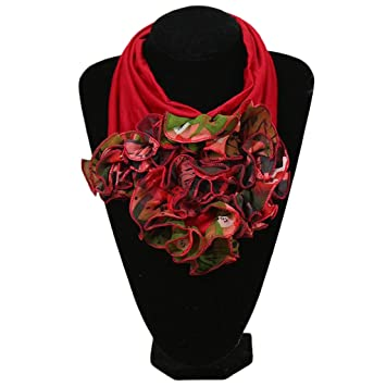 5d50374e873 Amazon.com: Dabixx Womens Floral Collar Scarf Luxury Flower Printed ...