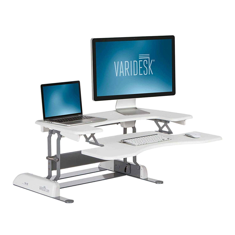 VARIDESK – Height Adjustable Standing Desk – Pro Plus 36 – Stand Up Desk for Dual Monitors – White