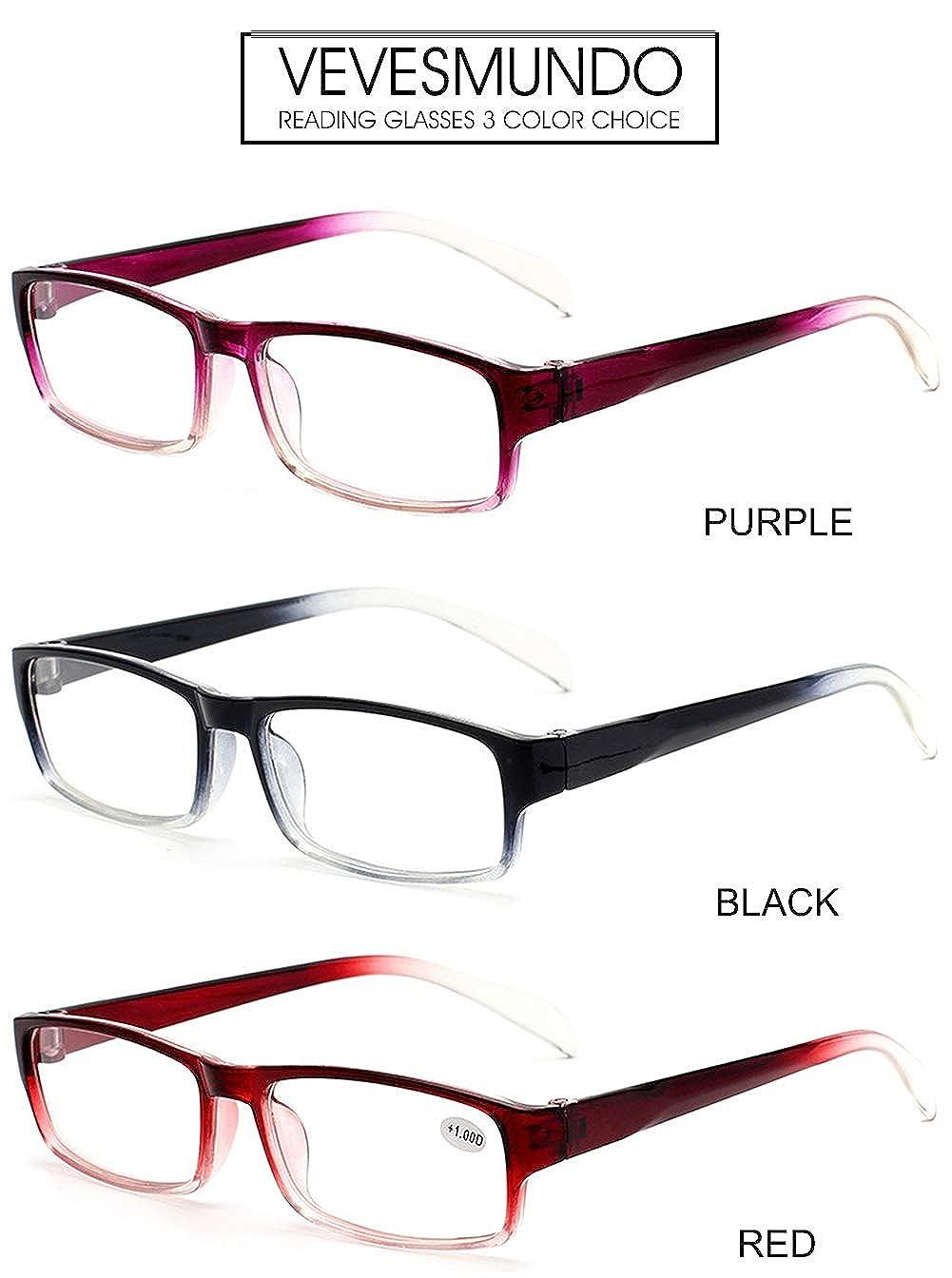 VEVESMUNDO Herren Damen Lesebrillen Lesebrille Rechteckige Designer Brille Augenoptik Sehhilfe Lesehilfe mit Sehst/ärke