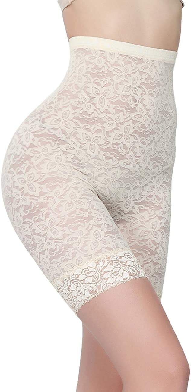 FeelinGirl Womens Slimming Shapewear Waist Bodysuit with Long Leg Lace Hem