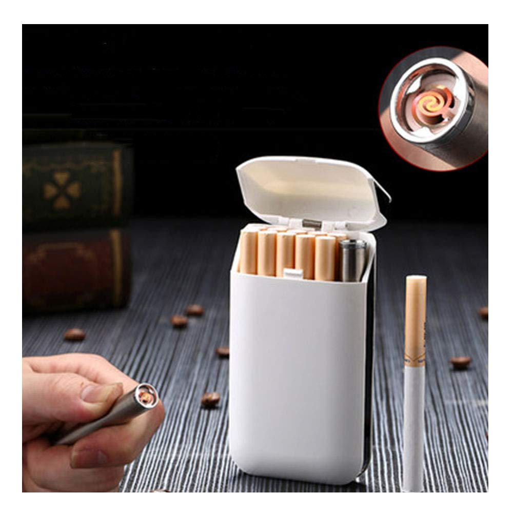 RZJ-LL Dawn Ultrathin Cigarette Case Electronic Lighter Portable Waterproof Pressure-Proof Spring Cover 10 RegularSize / 20 Thin,B