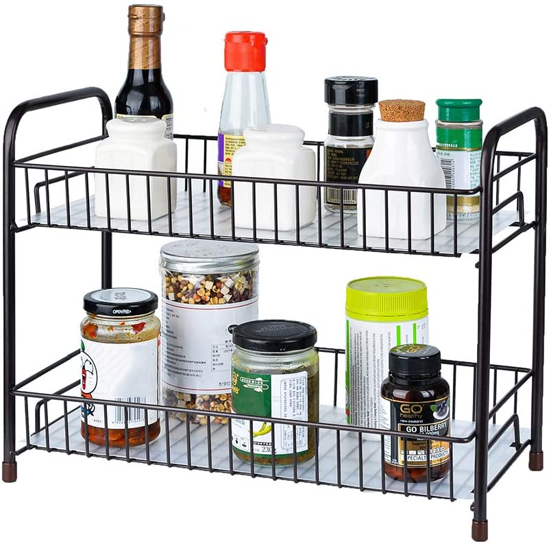 Spice Rack Organizer for Countertop 2 Tier Counter Shelf Standing Holder Storage with Shelf Liner for Kitchen Bathroom Cabinet-Bronze