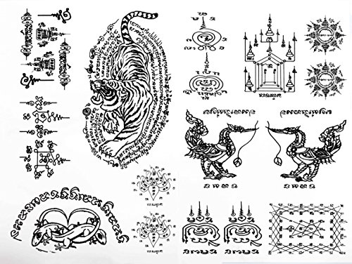 3 Black Thai Tradition Ancient Temporary Sticker Body Tattoos Couple Lizards, Couple Swans, Tiger Set, Ancient Alphabets Set of 2 Sheets for girls, women, kids, and men Size 6.2