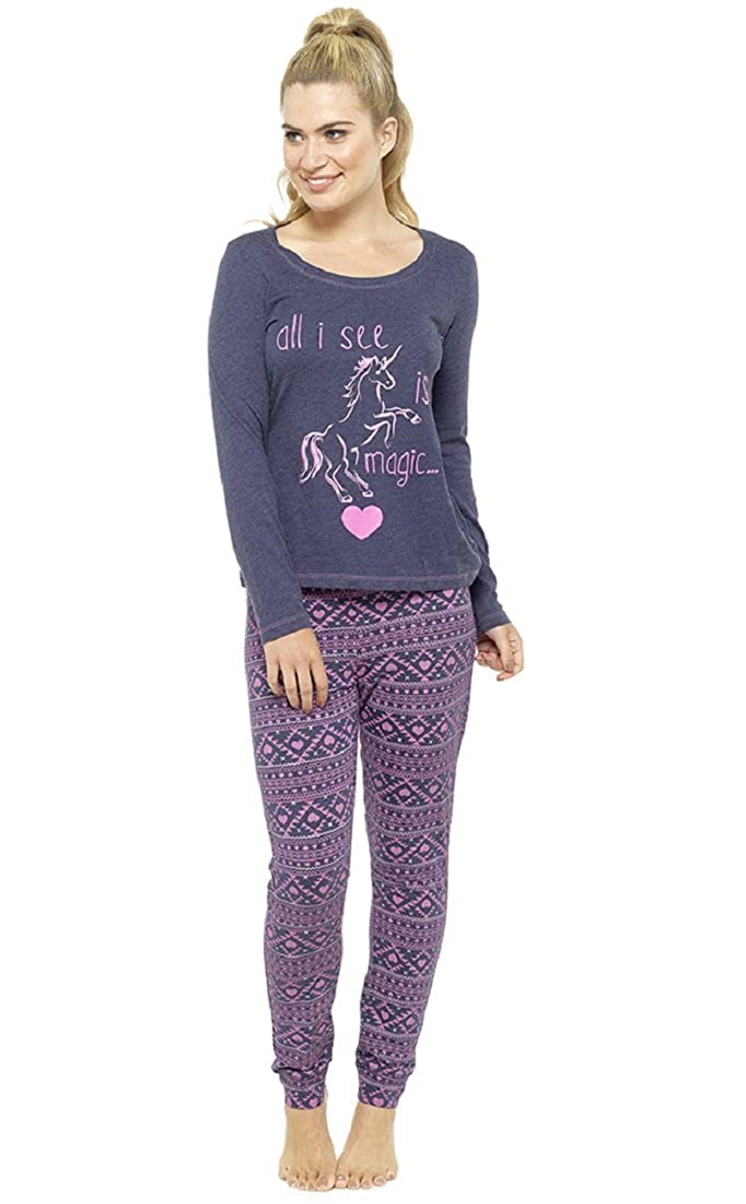 Ladies Glitter Print Unicorn Pyjama Set
