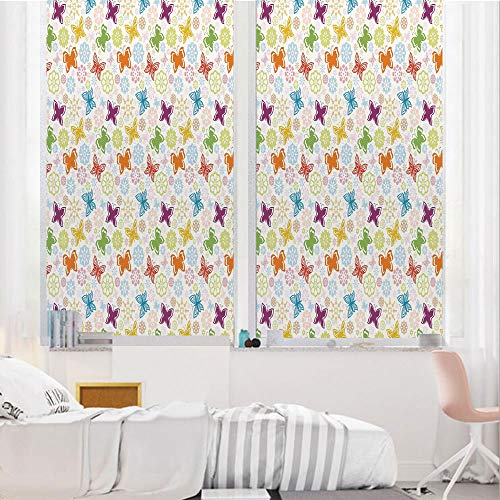 Butterfly 3D No Glue Static Decorative Privacy Window Films, Cartoon Style Animal Silhouette with Flower Patterned Background Vibrant Image,17.7