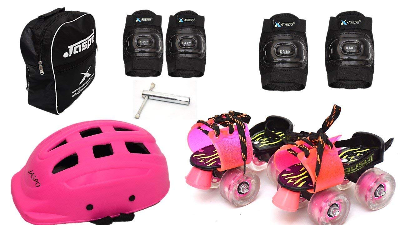 Jaspo Derby Dolls Intact Junior Adjustable Roller Skates Combo Suitable for Age Group Upto 5 Years