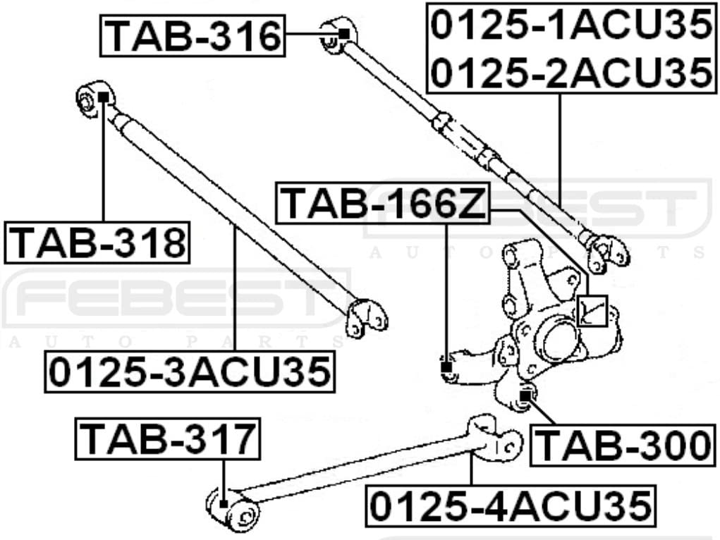 For Rear Assembly Arm Bushing Febest # TAB-166Z