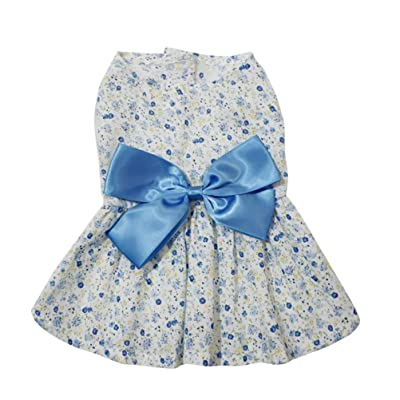 Balacoo Small Dog Dress Bowknot Floral Breathable Lovely Princess Skirt