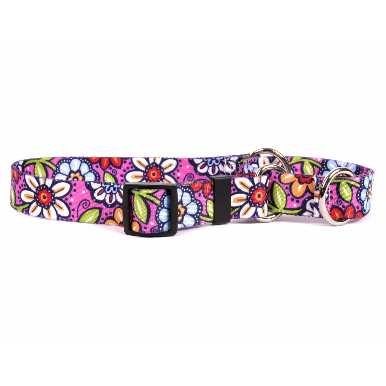 Yellow Dog Design Pink Garden Martingale Dog Collar, Medium-1'' Wide and fits neck sizes 14 to 20''