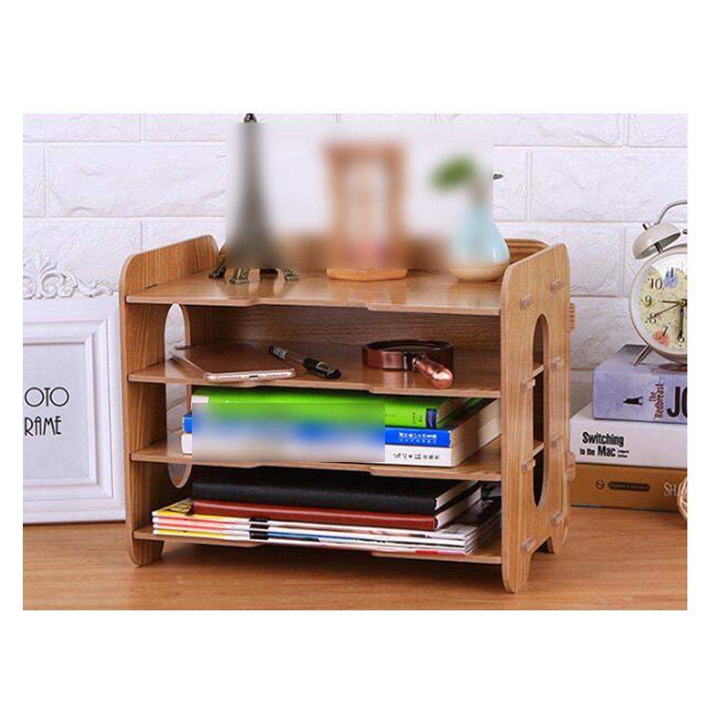 Bookcase Thick Wooden Desktop Storage Box Storage File Holder Multi-Layer Data Bookshelf Office Supplies Storage Box,WoodColor by ANHPI-bookcase (Image #6)