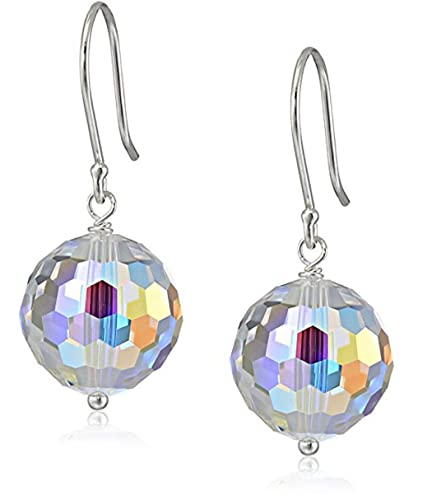 c1542aa64 Image Unavailable. Image not available for. Color: Sterling Silver Dangle  Earrings Sparkle Swarovski Crystal ...