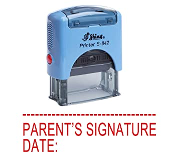 PARENTS SIGNATURE DATE Self Inking Rubber Stamp Office Stationary Shiny