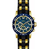 Invicta 23704 Men's Pro Diver Blue Dial Yellow Steel & Black Polyurethane Strap Chronograph Dive Watch