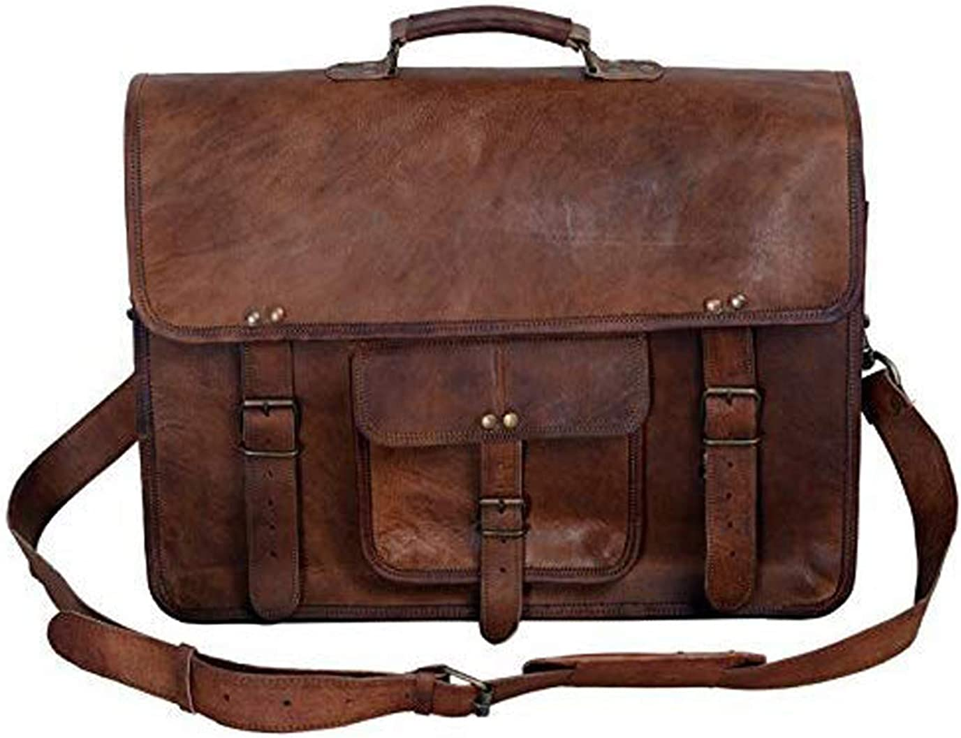 New Men/'s Vintage Brown Leather Satchel Full Flap Messenger Laptop  Shoulder Bag
