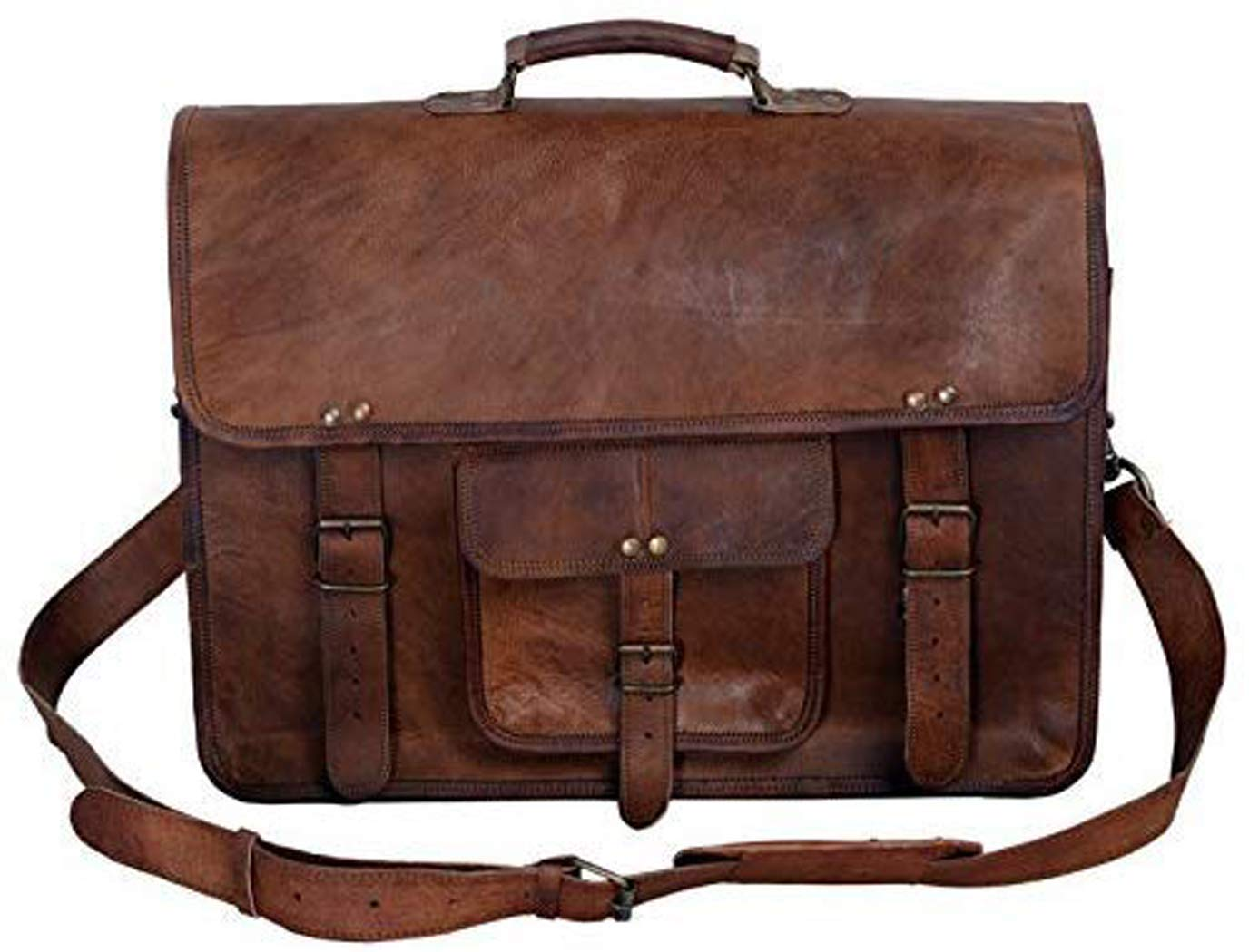 KPL 18 Inch Vintage Men's Brown Handmade Leather Briefcase Best Laptop Messenger Bag Satchel (16 Inch) by Komal''s Passion leather