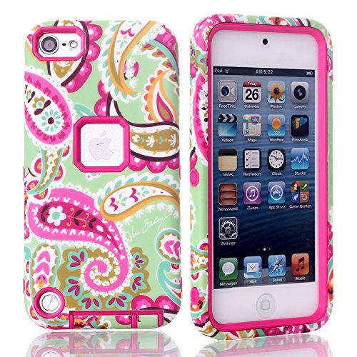 iPod Touch 5th case, MagicSky Plastic + TPU Paisley Flower Pattern Tuff Dual Layer Hybrid Armor Case for Apple iPod Touch 5 5th Generation - 1 Pack - Retail Packaging - Hot Pink