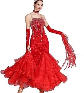 Robes de Danse de Salon pour Femmes Performance sans Manches Costume de Danse Moderne Valse Compétition Dancewear avec Strass, S MoLiYanZi