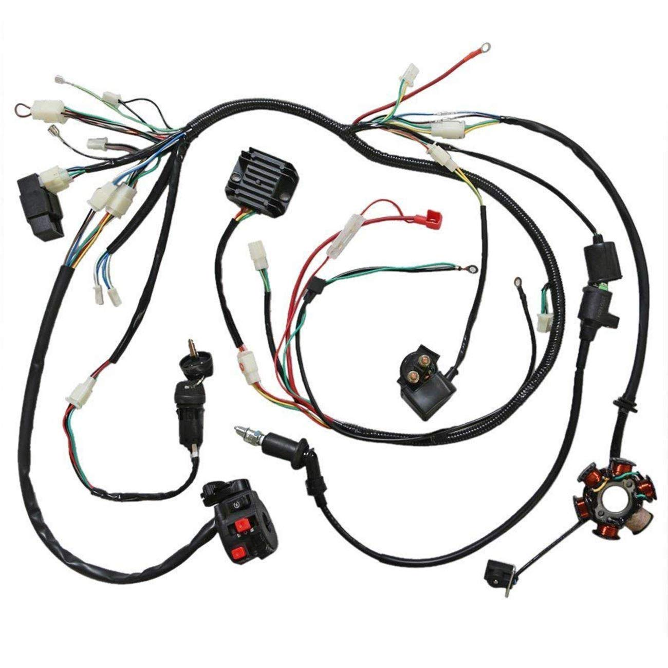 Jcmoto Wiring Harness Loom Kit Cdi Rectifier Key Gy6 Diagram Ignition Coil Magneto Stator For 125cc 150cc 250cc Atv Quad Scooter Automotive