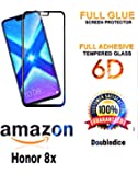 Doubledicestore® Honor 8X Premium 6D Curved Edge-to-Edge Tempered Glass Screen Protector glass Full Glue (Black)