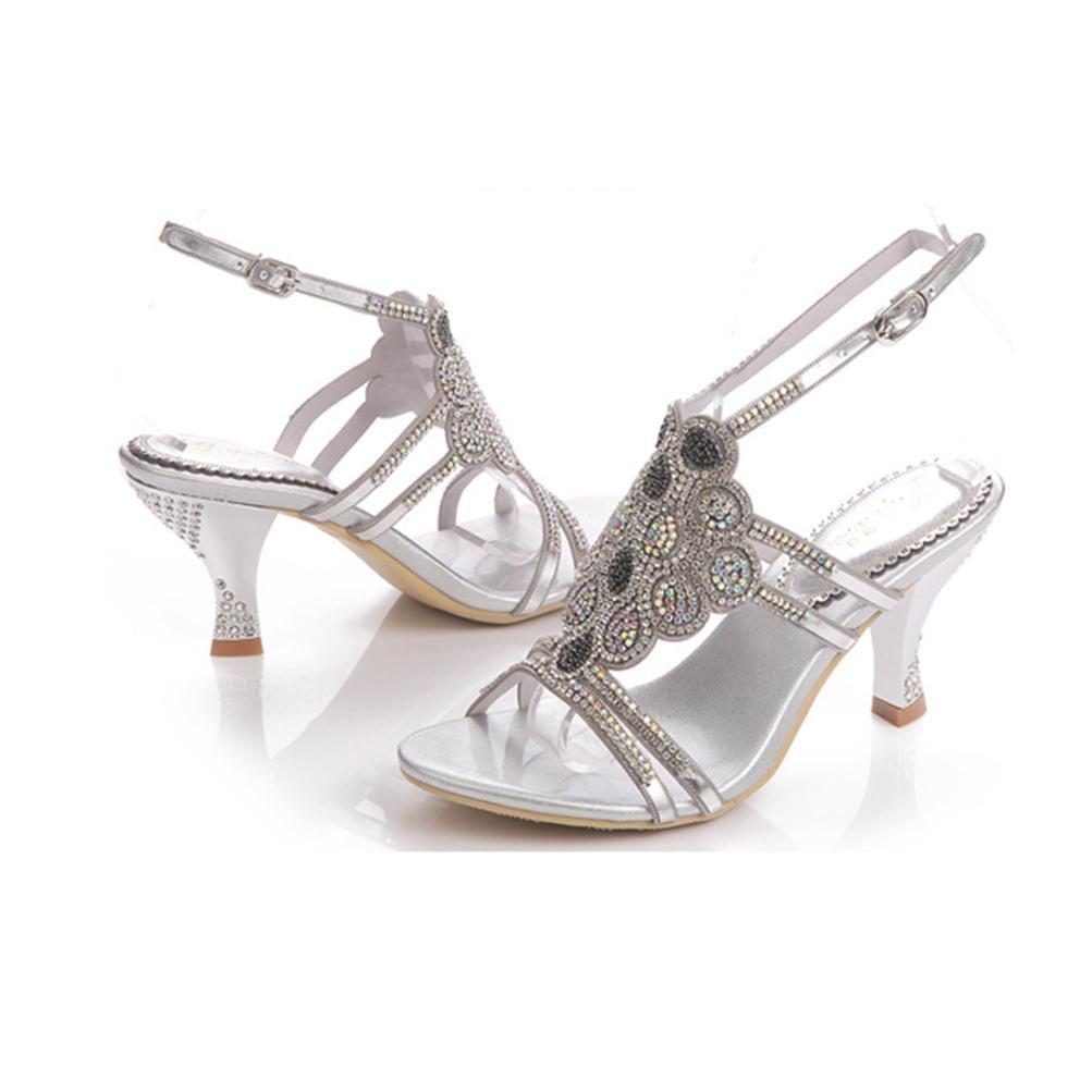 QPYC Frau feine Ferse Sandalen Perlen Strass Pailletten durchbrochene Perlen Sandalen flachen Mund Schnalle High Heels Damenschuhe , Silver , 42 - 7bee65