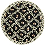 Safavieh Chelsea Collection HK55B Hand-Hooked Black Premium Wool Round Area Rug (5'6″ Diameter)