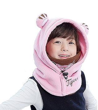 ce4cef77d79 Yezelend Cagoule bébé Enfant Bonnet Cache Oreilles Cou Chapeau Hiver Capuche  Animaux Déguisement