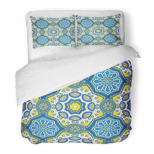 Emvency Decor Duvet Cover Set King Size Oriental Ornamental Laced with Floral and Geometric Mosaic Tiles with Mandala Indian 3 Piece Brushed Microfiber Fabric Print Bedding Set Cover