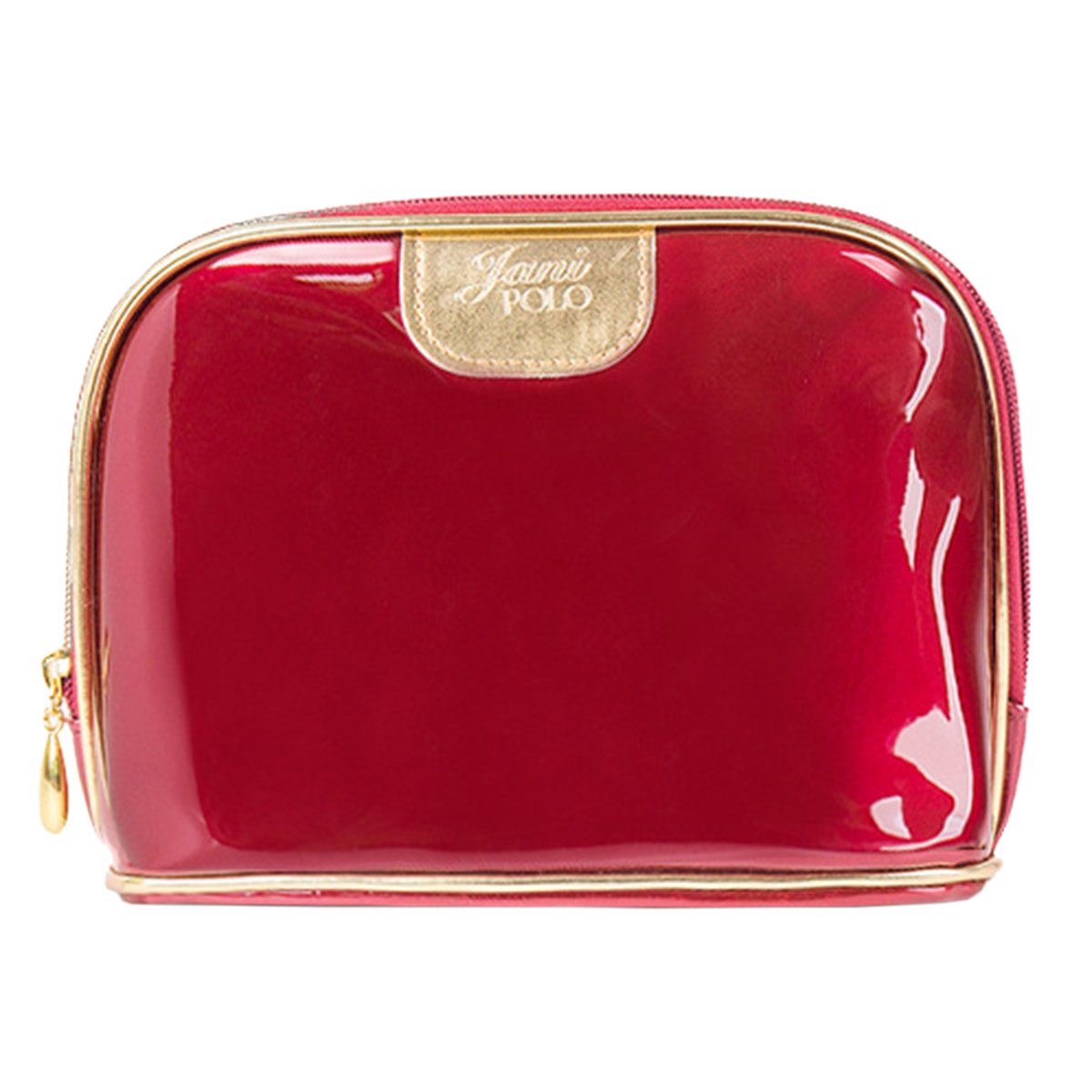 THEE Women Portable Travel Toiletry Bag Cosmetic Makeup Pouch Patent Leather