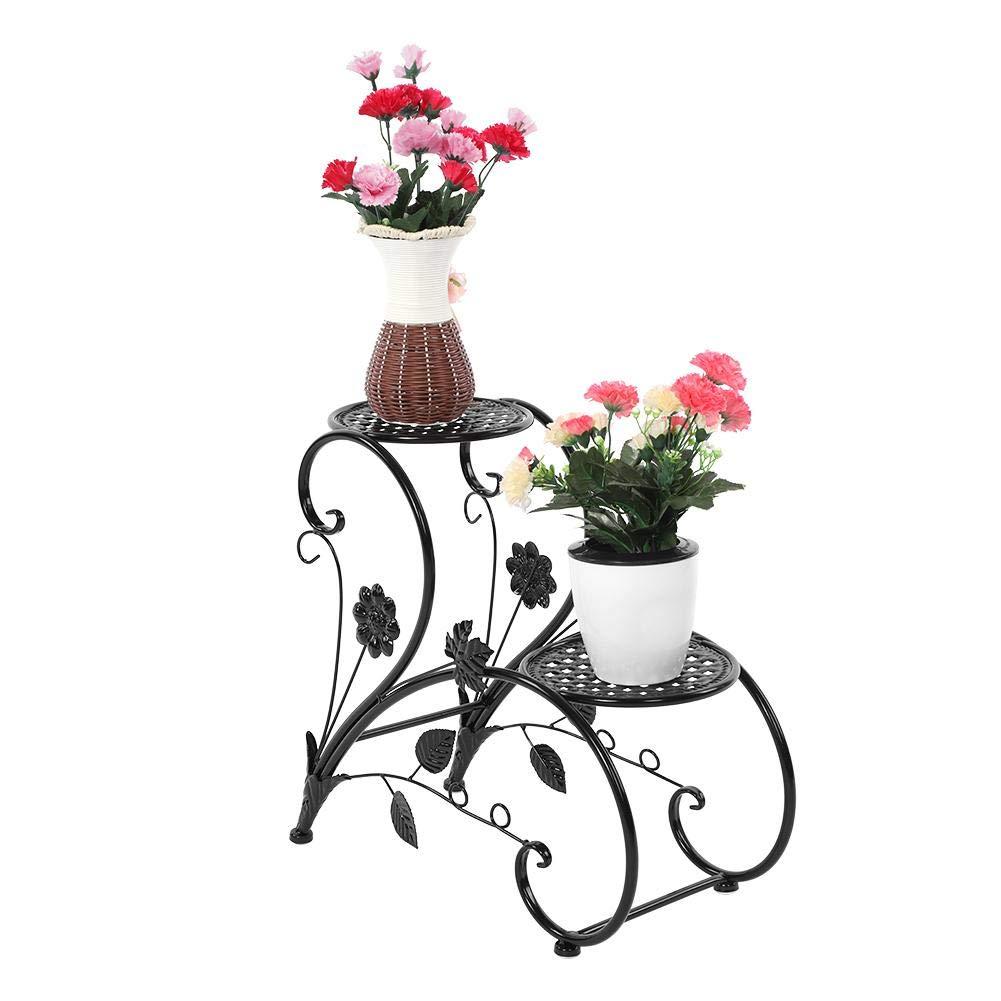Soporte de Exhibici/ón de la Planta de Hierro de 2 Niveles Estanter/ía Decorativa de Hierro para Macetas Exterior Interior Jard/ín 45 x 21 x 40.6cm Blanco