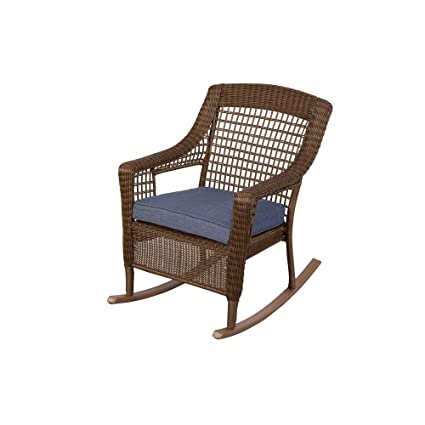 Hampton Bay 66 20312 Spring Haven Brown All Weather Wicker Patio Rocking  Chair With