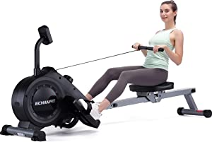 ECHANFIT Magnetic Rower Machine with 16-Level Silence Resistance for Whole Body Rowing with LCD Monitor for Home Gym, Cardio Exercise and Strength Training