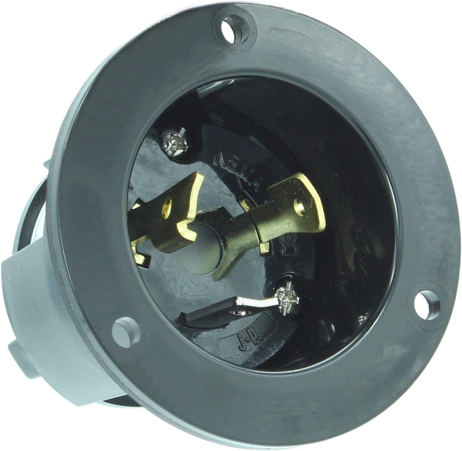 Black Industrial Grade NEMA L5-30 Flanged Inlet Generator Plug Locking Receptacle Socket Grounding 3750 Watts Journeyman-Pro 2615 30A 125 Volt No Cover Included
