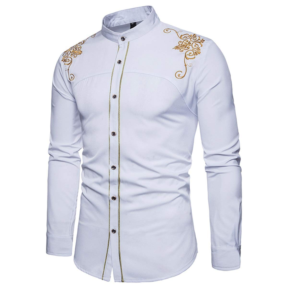 Mens Embroidery Palace Slim Casual Stand Collar Long Sleeves Button Down Dress Shirt Top