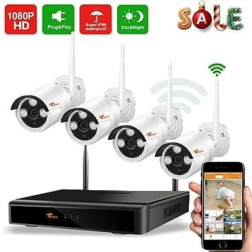 CORSEE H.265+ Kit camaras vigilancia WiFi 8 Canal1080P NVR+4 1080P cámaras
