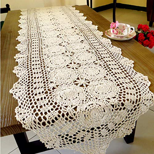 kilofly Handmade Crochet Cotton Lace Table Runner Tablecloth, 15 x 60 inch