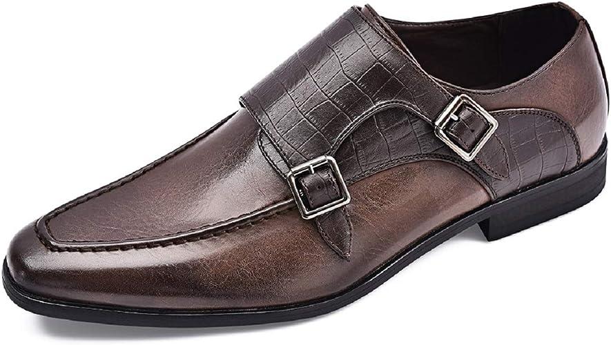 Jivana Mens Classic Oxford Dress Shoes Double Buckle Monk Strap