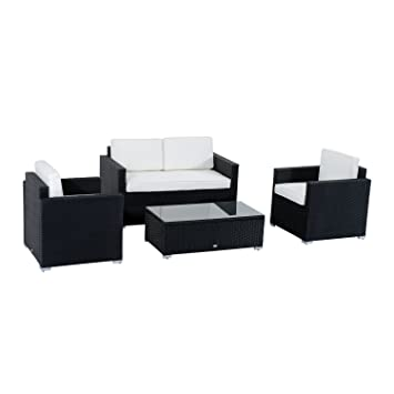 Outsunny 4 Piece Cushioned Outdoor Rattan Wicker Sofa Sectional Patio  Furniture Set