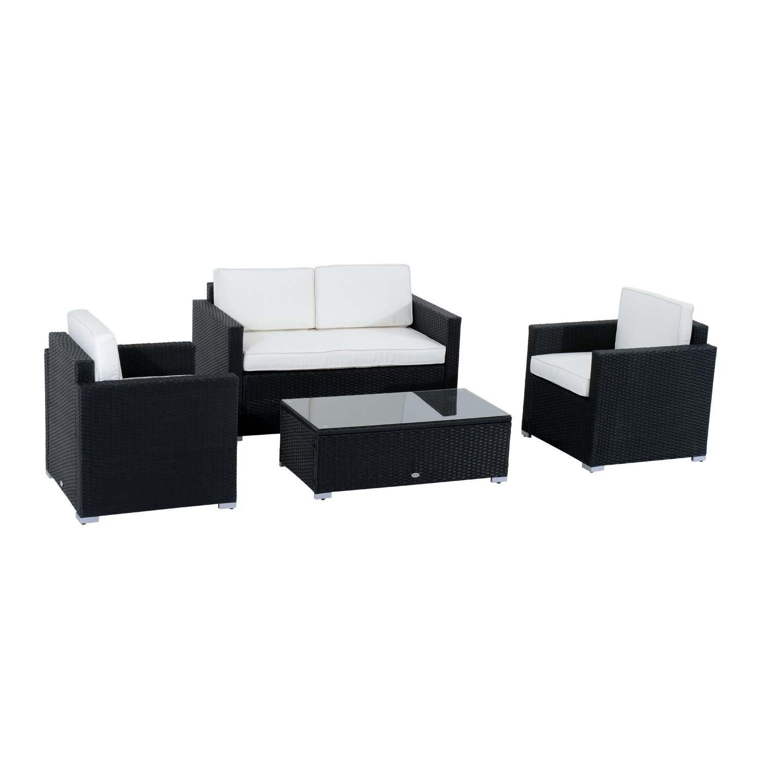 Outsunny Modern 4 Piece Cushioned Outdoor Rattan Wicker Sofa Sectional Patio Conversation Furniture Set