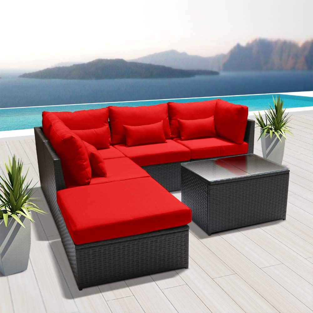 Amazon com dineli outdoor sectional sofa patio furniture wicker conversation espresso brown rattan sofa set h6 orange garden outdoor