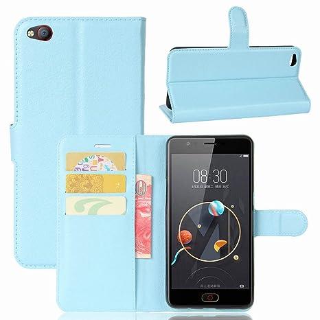 Guran® Funda de Cuero PU Para ZTE Nubia M2 Lite Smartphone Función de Soporte con Ranura para Tarjetas Flip Case Cover Caso-azul
